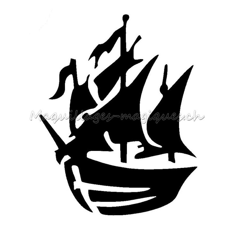 bateau pirate pochoir tatouage temporaire ybody 75100 maquillages magiques. Black Bedroom Furniture Sets. Home Design Ideas