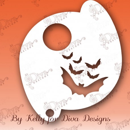 pochoir chauve souris lune maquillage halloween diva stencils 630 maquillages magiques. Black Bedroom Furniture Sets. Home Design Ideas
