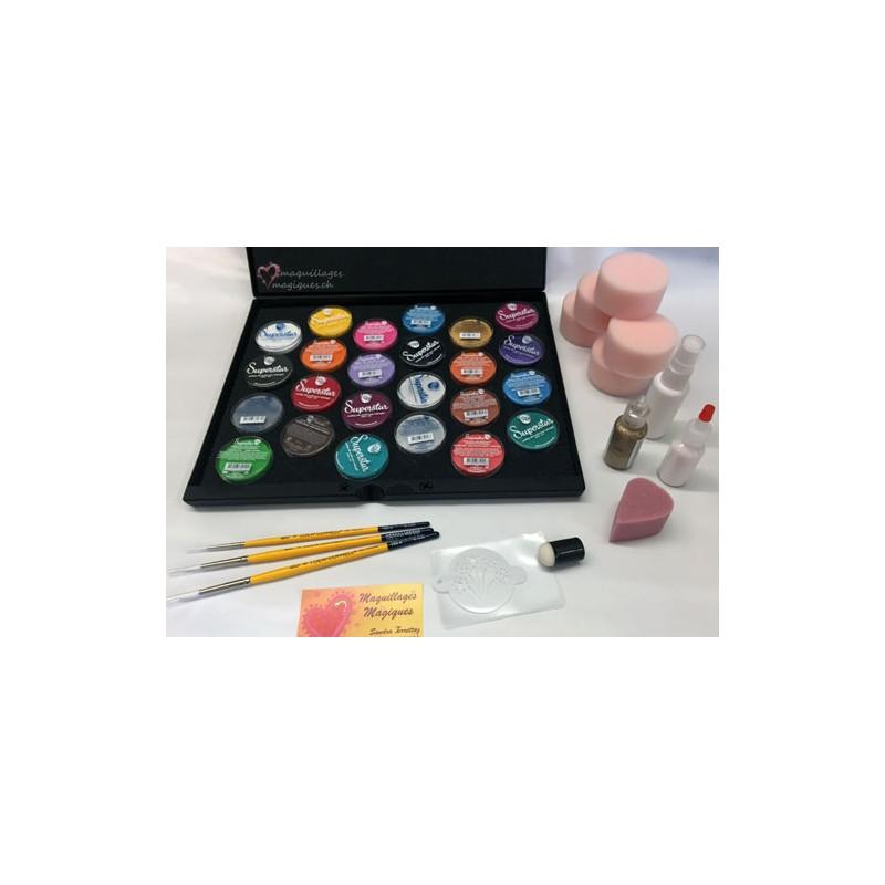 kit maquillage de f te pinceaux ponges couleurs paillettes superstar maquillages magiques. Black Bedroom Furniture Sets. Home Design Ideas