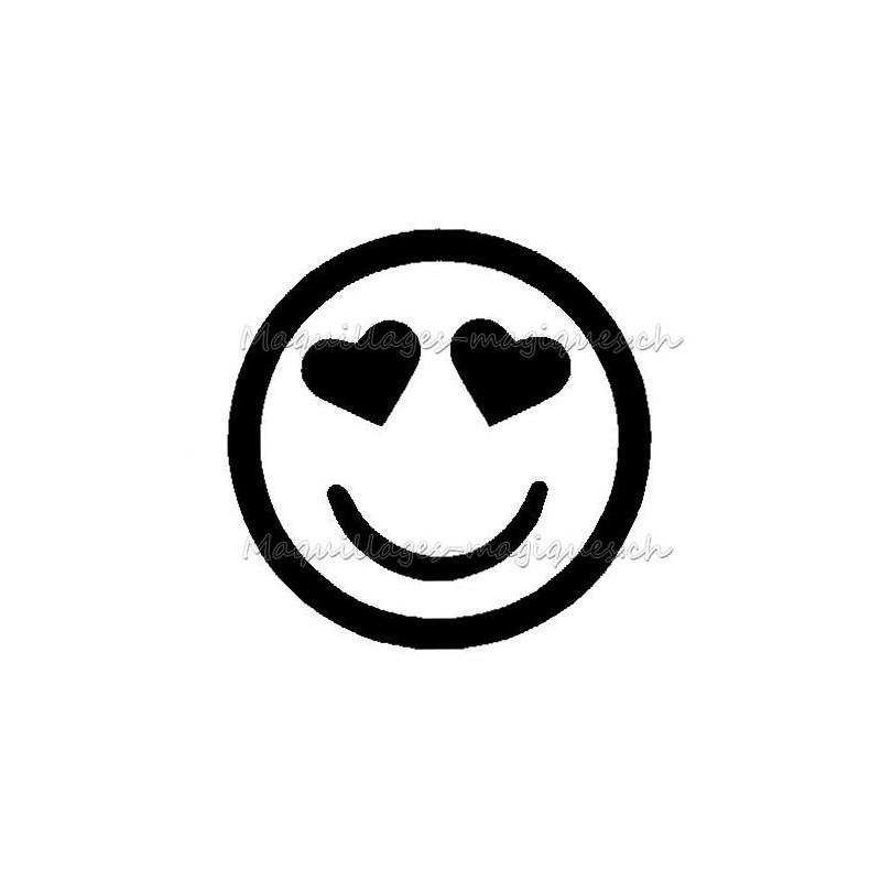 Smiley Emoticone En Forme D Emoji Coeur Pour Tatouage Ephemere 332 Maquillages Magiques