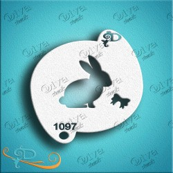 Diva stencils bunny with bow 1097 pochoir lapin maquillages magiques