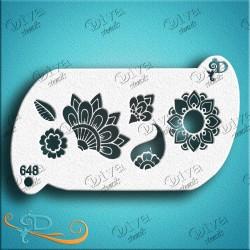 diva stencils Henna bits 648  pochoir henné fleur maquillage aerographe