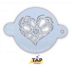 Coeur Fleur gabarit pochoir TAP Stencils Jest Flower Hearts