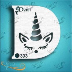 Maquillage pochoir licorne anniversaire Diva Stencils 333