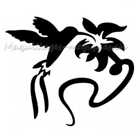 colibri fleur pochoir tatouage temporaire oiseau ybody 20600 maquillages magiques. Black Bedroom Furniture Sets. Home Design Ideas
