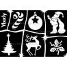 Pochoir pour tatouage temporaire éphémère à paillettes planche Noël