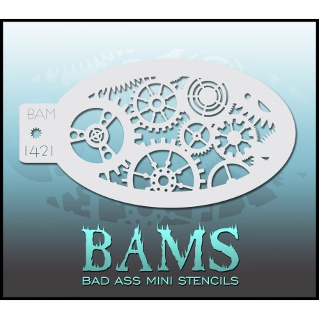 Pochoir maquillage engrenage Bams BadAssStencils 1022