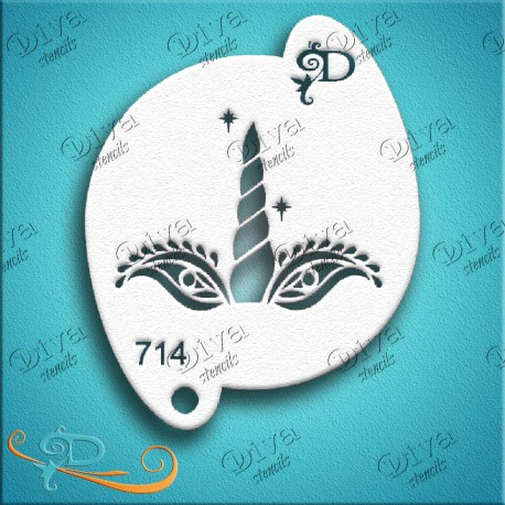 Maquillage pochoir licorne Diva Stencils 714