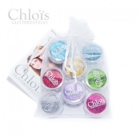 Chloïs Glitter Mini's Light - 8 couleurs de paillettes