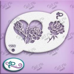 Pochoir maquillage Coeur Valentine Rose - 1560 Diva Stencil