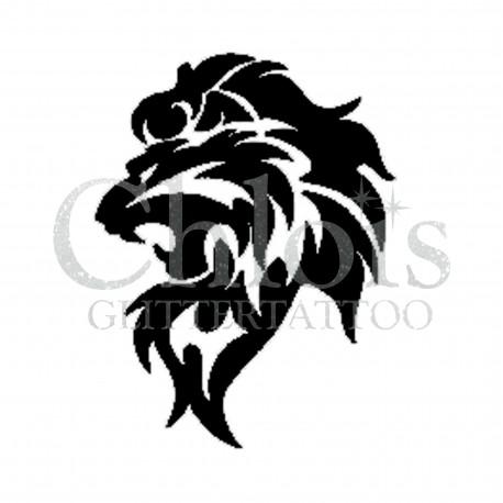 Lion qui rugit n°1002 pochoir tatouage