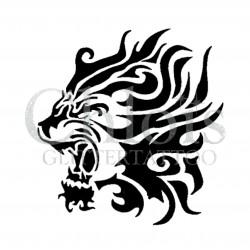 Lion tribal n°1003 pochoir pour tatouage temporaire