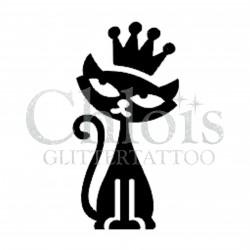 Chat couronne n°1008 pochoir pour tatouage temporaire