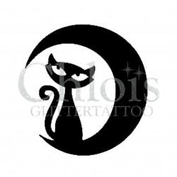 Chat sur la lune n°1009 pochoir pour tatouage temporaire
