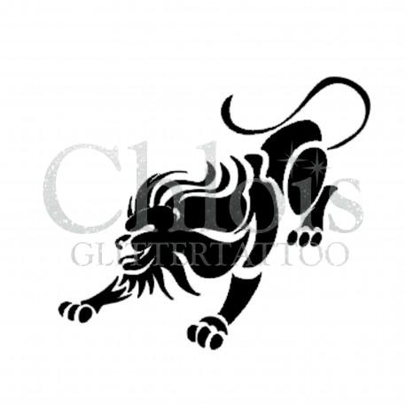 Lion qui attaque n°1012 pochoir tatouage temporaire