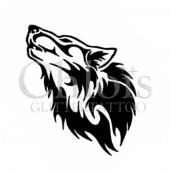 Tête de Loup n°1200 pochoir chloïs Glittertattoo pour tatouage temporaire