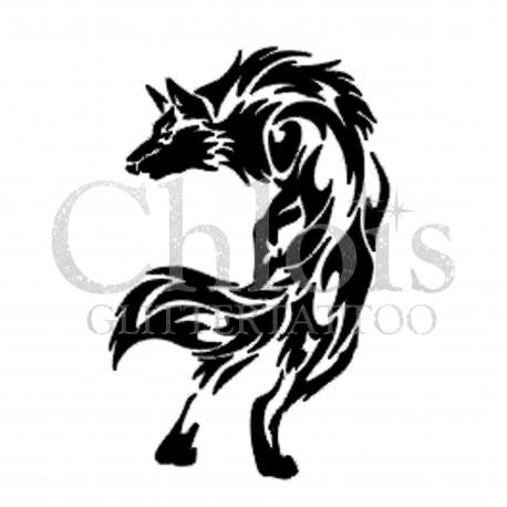 Loup n°1201 pochoir chloïs Glittertattoo pour tatouage temporaire