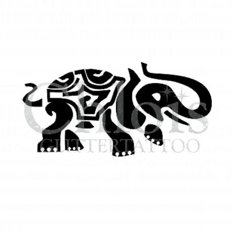 Elephant Indien n°1203 pochoir chloïs Glittertattoo pour tatouage temporaire