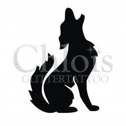 Loup2 n°1206 pochoir chloïs Glittertattoo pour tatouage temporaire
