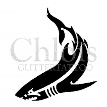 Requin n°1305 pochoir chloïs Glittertattoo pour tatouage temporaire