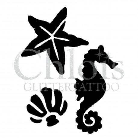 Pochoir multiple sur la mer n°1308 chloïs Glittertattoo pour tatouage temporaire