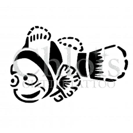 Poisson clown Nemo n°1310 pochoir chloïs Glittertattoo pour tatouage temporaire