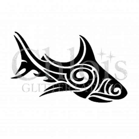 Poisson tribal n°1312 pochoir chloïs Glittertattoo pour tatouage temporaire