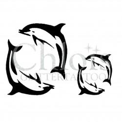 2 Duo de Dauphins °1313 pochoir chloïs Glittertattoo pour tatouage temporaire