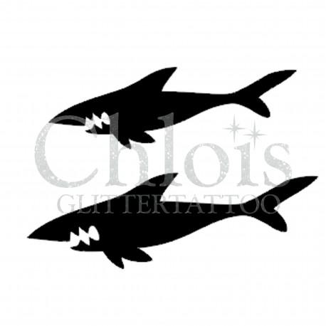 Duo de Requins n°1318 pochoir chloïs Glittertattoo pour tatouage temporaire