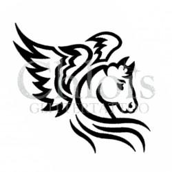 Pegas le cheval ailé n°1402 pochoir chloïs Glittertattoo pour tatouage temporaire