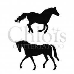Duo de chevaux n°1406 pochoir chloïs Glittertattoo pour tatouage temporaire