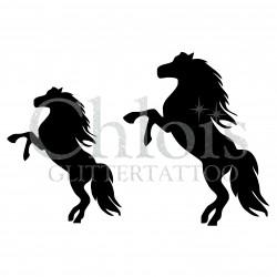 Duo de chevaux n°1407 pochoir chloïs Glittertattoo pour tatouage temporaire