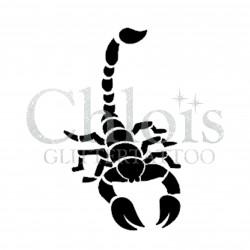 Scorpion n° 1503 - pochoir pour tatouages à paillette ou encre de Chloïs Glittertattoo