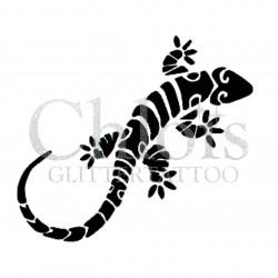 Gecko n° 1504 - pochoir pour tatouages à paillette ou encre de Chloïs Glittertattoo
