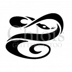 Serpent torsadé n° 1509 - pochoir pour tatouages à paillette ou encre de Chloïs Glittertattoo