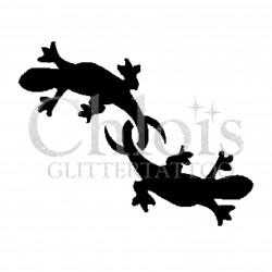 Duo de lézards n° 1606 - pochoir pour tatouages à paillette ou encre de Chloïs Glittertattoo