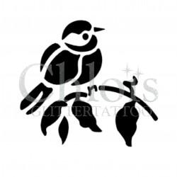 Oiseau sur sa branche n° 1701 pochoir chloïs Glittertattoo pour tatouage temporaire