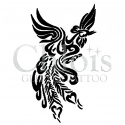 Paon n° 1702 pochoir chloïs Glittertattoo pour tatouage temporaire