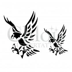 Duo d'aigles n° 1707 pochoir chloïs Glittertattoo pour tatouage temporaire
