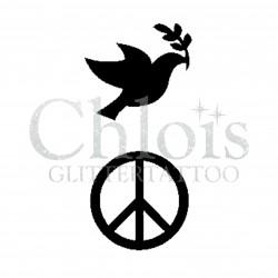 Oiseau de la paix n° 1708 pochoir chloïs Glittertattoo pour tatouage temporaire