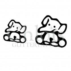 Duo d'Elephants n°1801 pochoir chloïs Glittertattoo pour tatouage temporaire