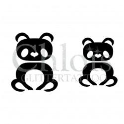 Duo de Pandas n° 1804 pochoir chloïs Glittertattoo pour tatouage temporaire