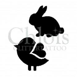 Lapin en duo avec un oiseau n° 1806 pochoir chloïs Glittertattoo pour tatouage temporaire