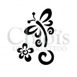 Papillon floral n°2003 pochoir pour tatouage temporaire