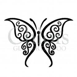 Papillon Curl n°2005 pochoir pour tatouage temporaire