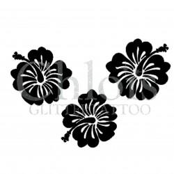 Trio d'Hibiscus n° 3004 pochoir pour tatouage temporaire