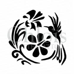 Fleur Colibri n° 3007 pochoir pour tatouage temporaire