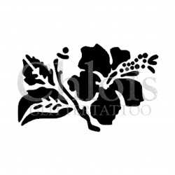 Hibiscus Dots n° 3016 pochoir pour tatouage temporaire