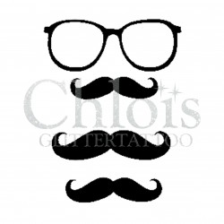 Moustache et Lunettes n°4032 - pochoir tatouage éphémère