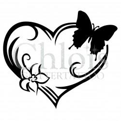 Coeur papillon n°4817 tatouage temporaire